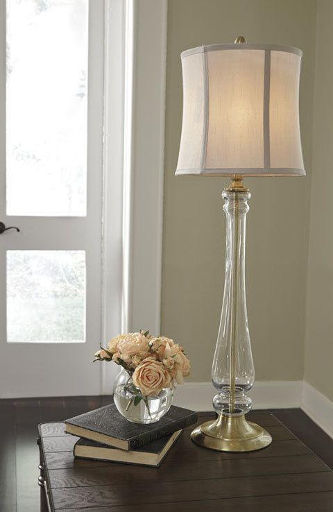 Signature Design Ardice Glass Table Lamp 1 Cn Clear Brass Finish
