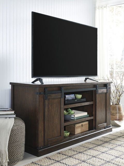 W562 48 Medium Budmore Tv Stand Barn Doors Rustic Brown Hvl