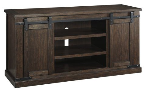 Signature Design W562-48 Large Budmore TV Stand, Barn Doors, Rustic Brown