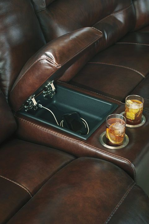 Signature Design Bancker Power Reclining Leather Secrtional