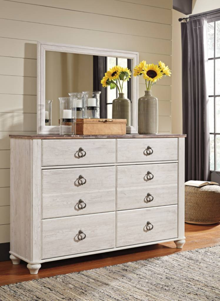 Signature Design Willowton Bedroom Mirror - Whitewash