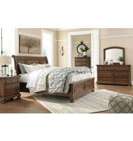 Signature Design Flynnter, Queen Sleigh Bed, Medium Brown B719-74, 77, 98