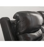 Signature Design Pillement, Power Reclining Sofa with Adjustable Headrest, Metal