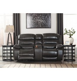 Signature Design Pillement, Power Reclining Loveseat with Console and Adjustable Headrest, Metal 7700418