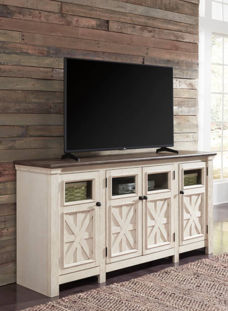 Signature Design Bolanburg, Extra Large TV Stand, Two Tone, W647-60
