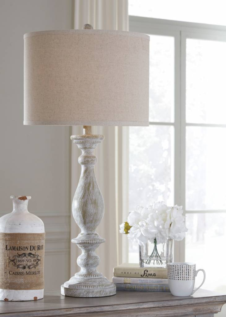 Signature Design Bernadate Whitewash Table Lamp L235344 1ea.