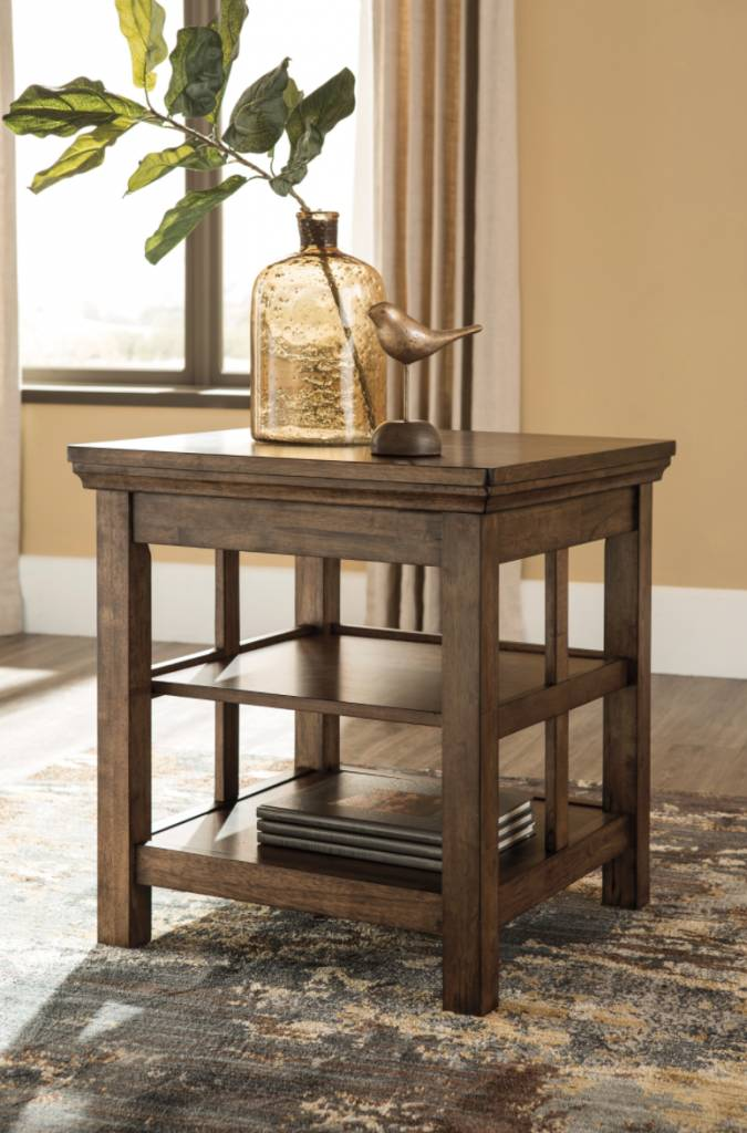 Signature Design Flynnter Square End Table- Medium Brown T919-2