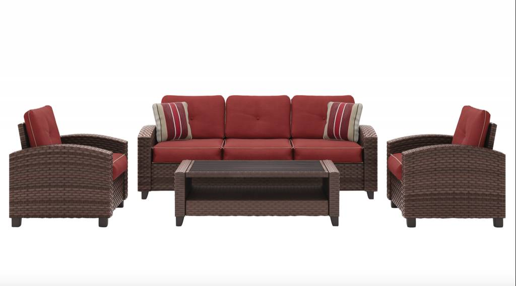 Meadowtown- Red Sofa/Chairs/Table Set (4/CN) P333-081 - HVL ...