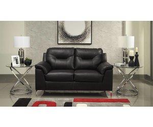 Amazing Benchcraft Tensas Loveseat Black Faux Leather 3960435 Home Interior And Landscaping Mentranervesignezvosmurscom
