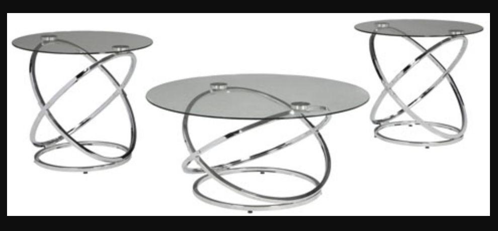 Signature Design Hollynx- Set of 3 Contemporary Tables, Chrome Finish T270-13