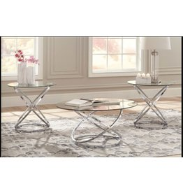 Signature Design Hollynx- Set of 3 Contemporary Tables, Chrome Finish T270-13