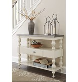 Signature Design Console Sofa Table- Fossil Ridge, Antique White A4000013