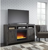 Signature Design Mayflyn- Large TV Stand w/Fireplace Option- Charcoal W729-68