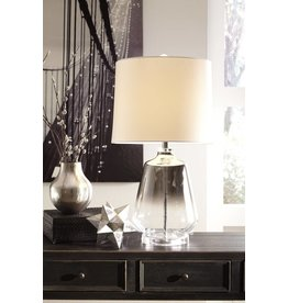 Signature Design Jaslyn- GLASS TABLE LAMP (1/CN)- Silver Finish