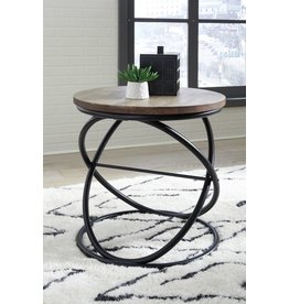 Signature Design Charliburli- Round End Table- Brown/Black T644-6