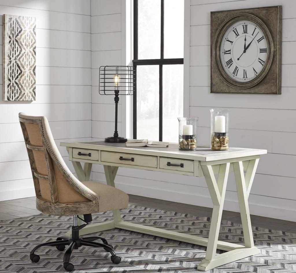 Jonileene 60 Home Office Desk: Jonileene- Large Leg Desk- White/Gray H642-44