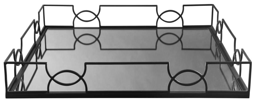 Dionicio- Black Metal Tray with Mirror A2000361