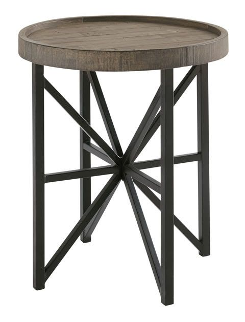 Benchcraft Cazentine- Round End Table- Grayinsh Brown/Black T723-6