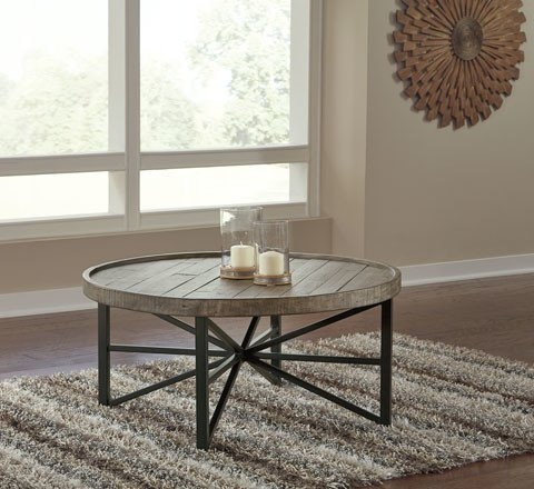 Benchcraft Cazentine- Round Cocktail Table- Grayish Brown/Black T723-8