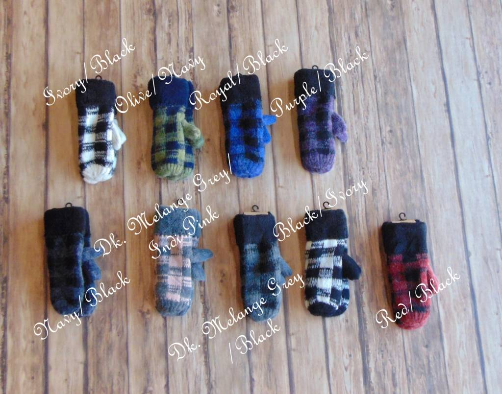 Buffalo Plaid Fleece Lined Mittens