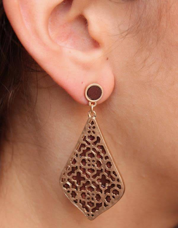Wood & Metal Filigree Earrings