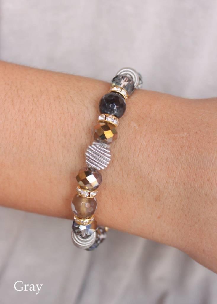 Stone and Glass Stretch Bracelet