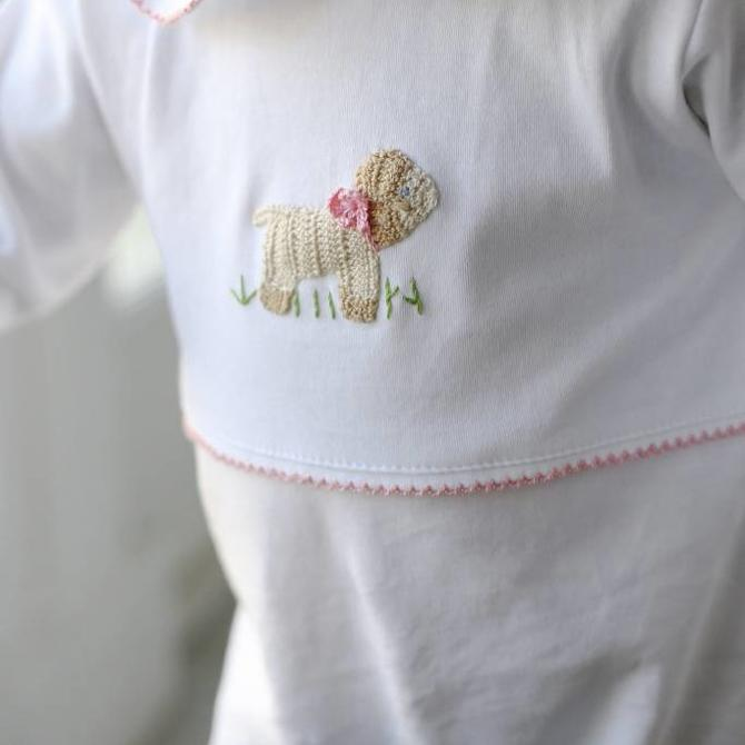 Little English Little English Girls Sheep Crochet Playsuit