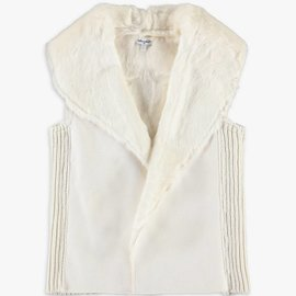Splendid Faux Fur Vest Off White
