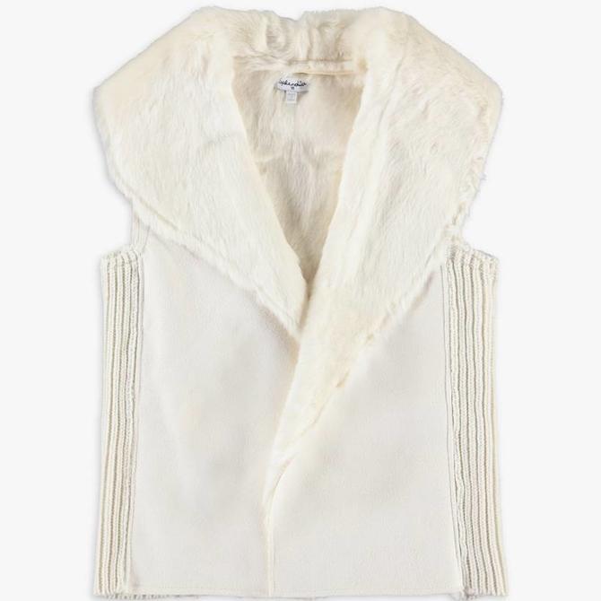 Splendid Faux Fur Vest Off White