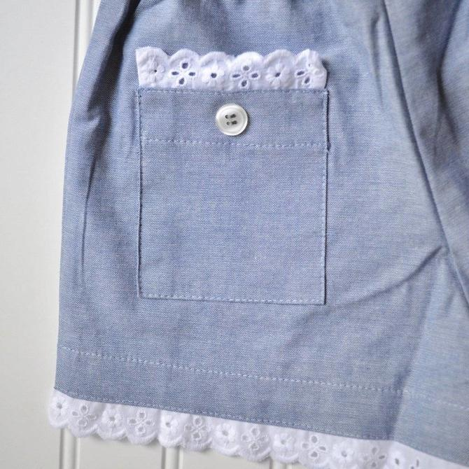 Peggy Green Girl's Shorts Baltimore Blue with Eyelet