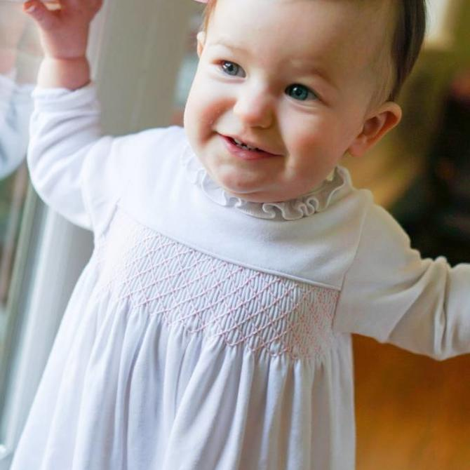 Peggy Green Knit Sadie Dress White Pima