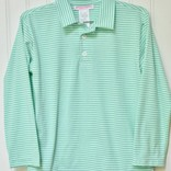 Peggy Green Boy's Long Sleeve Polo Green Stripe