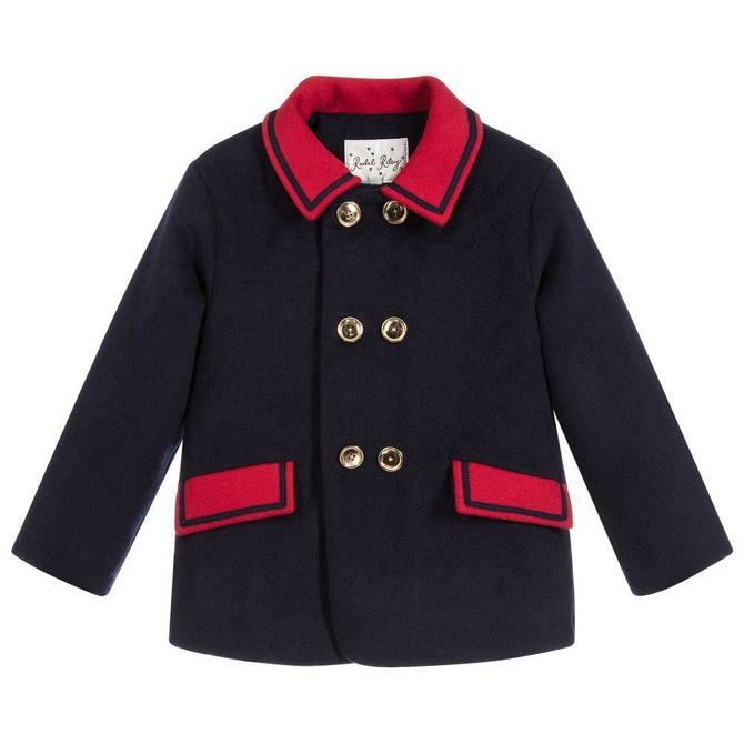 Rachel Riley Double Breasted Coat Navy/Red