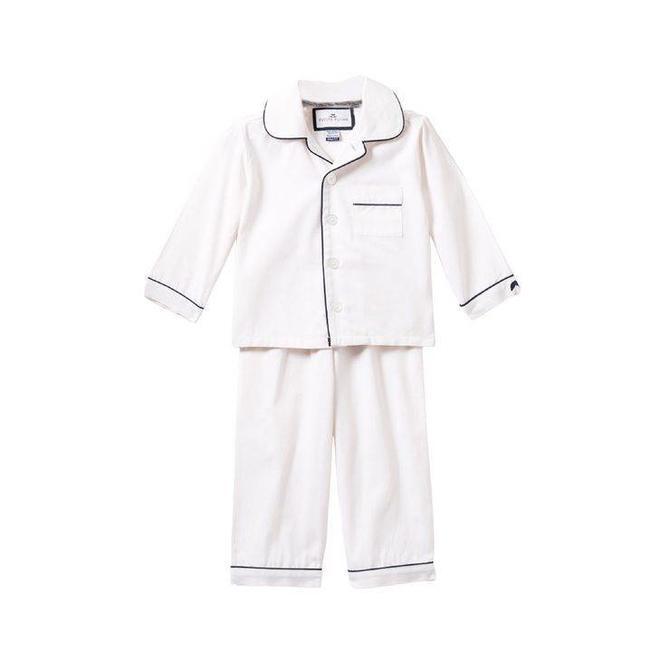 Petite Plume Petite Plume White with Navy Piping Pajamas