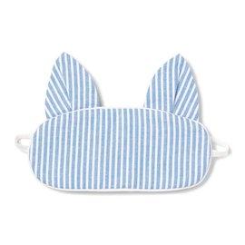 Petite Plume Petite Plume Blue Seersucker Kitty Eye Mask