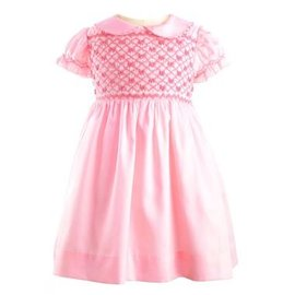 Rachel Riley Bow Smocked Dress Pink
