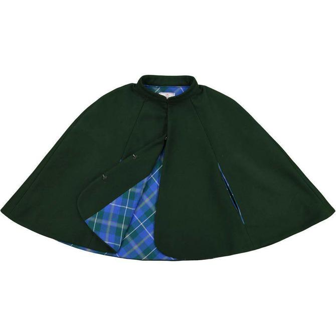 CPC Childrenswear Dark Green Plaid Highland Cape