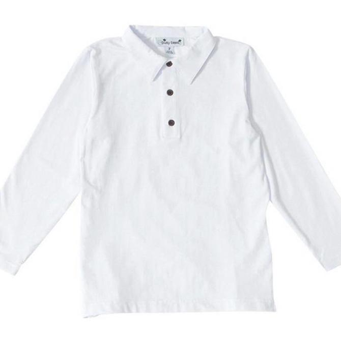 Busy Bees Busy Bees Longsleeve Polo - Solid White