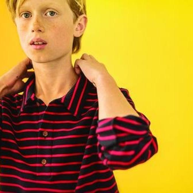 Busy Bees Busy Bees Longsleeve Polo - Red/Navy Mini Stripe