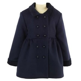 Rachel Riley Girls Velvet Trim Skating Coat Navy