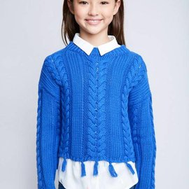 Hayden Los Angeles Frayed Cable Knit Sweater Blue