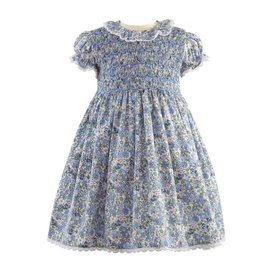 Rachel Riley Lace Trim Floral Smocked Dress