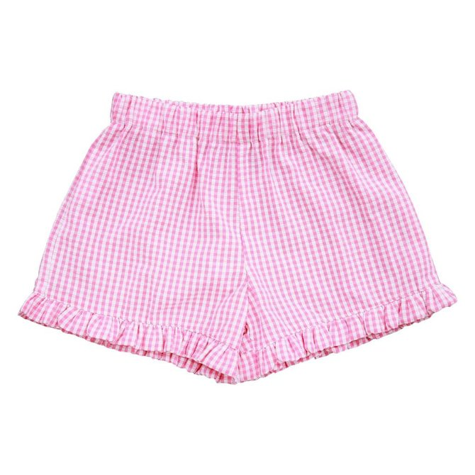 Busy Bees Lee Lee Ruffle Shorts Pink Check