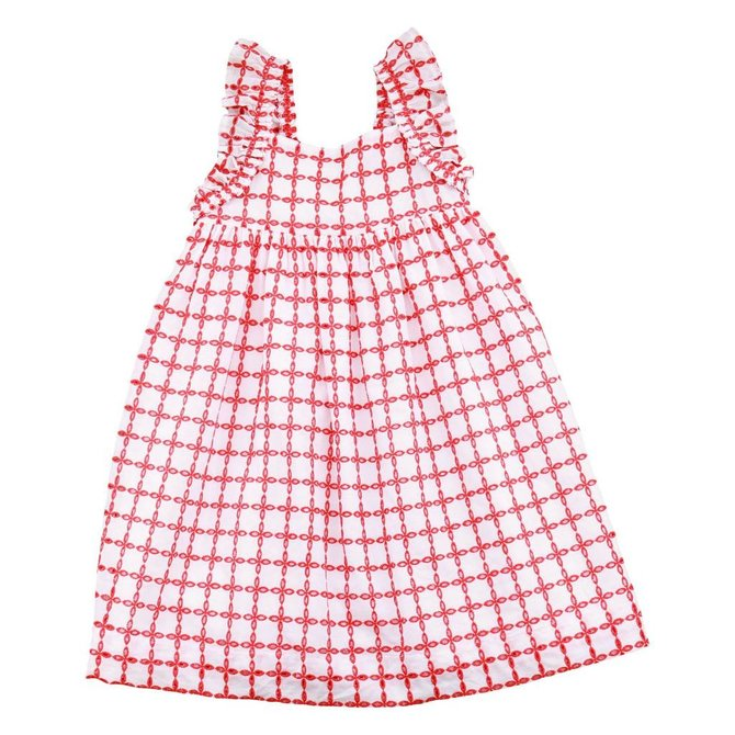 Busy Bees Sawyer Angel Wing Dress Red Eyelet