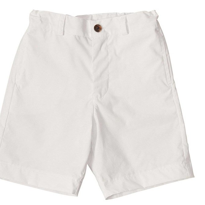 Busy Bees Alex Flat Front Short White Poplin