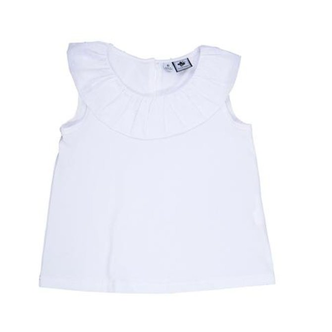 Busy Bees Summer Ruffle Tee White Knit