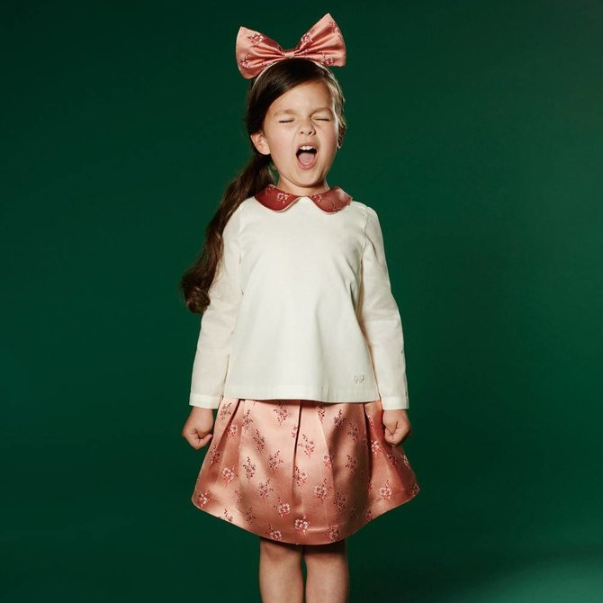 Contrast Collar Blouse and Satin Pleated Skirt