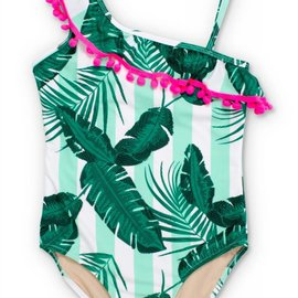 Shade Critters One shoulder swimsuit botanical mint