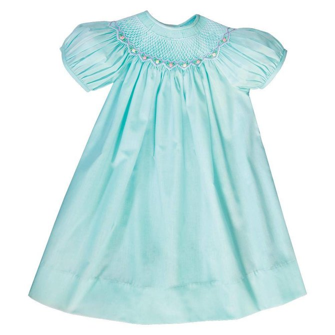 Rosalina Sadie Bullion Rose Smocked Dress Turquoise
