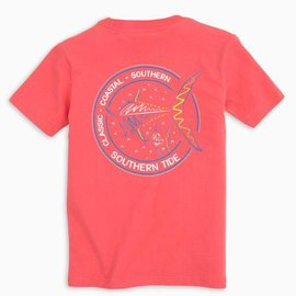Southern Tide Youth SS Swimming Away Tee Rosewood Red